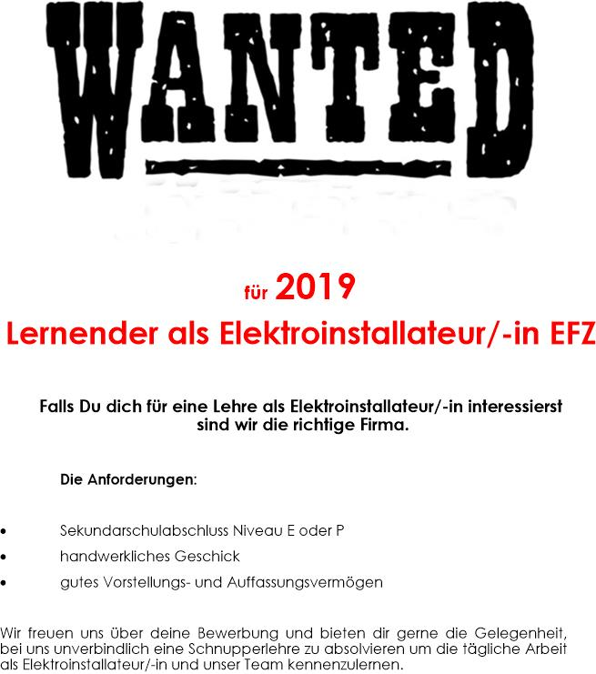 Wanted Lehrling 2019